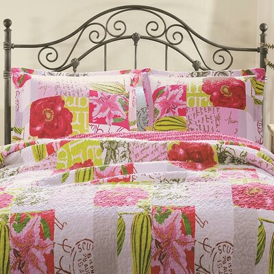 Greenland Home Fashions Love Letters Cotton Reversible Quilt Set