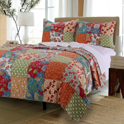 Greenland Home Fashions Terra Blossom Reversible Quilt Set