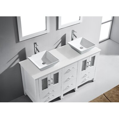 "virtu usa bradford 60"" double bathroom vanity set with white stone"