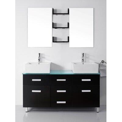 "Bathroom Cabinets Honolulu virtu usa ultra modern series 56"" double bathroom vanity set with"