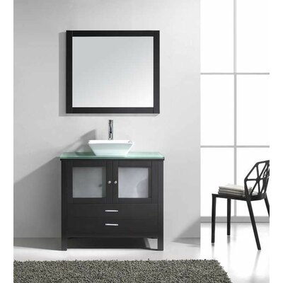 "Bathroom Vanity Glass Top virtu usa brentford 36"" single bathroom vanity set with tempered"