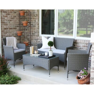 Savings Baxter 4 Piece Lounge Seating Group with Cushions by angelo:HOME