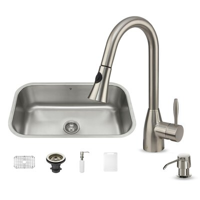 vigo 30 inch undermount single bowl 18 gauge stainless steel kitchen sink with aylesbury stainless steel faucet grid strainer and soap dispenser u0026 reviews