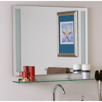 brayden studio frameless wall mirror with shelf & reviews | wayfair
