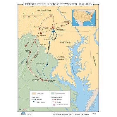 Universal Map US History Wall Maps Gettysburg Campaign Wayfair - Gettysburg us map