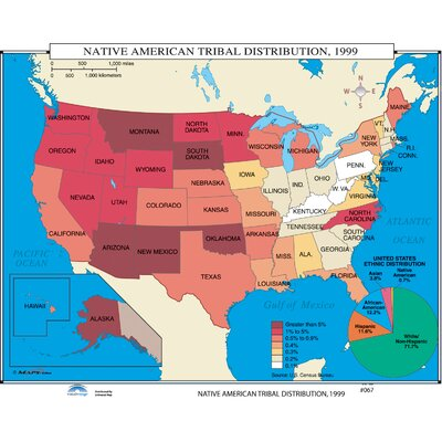 Universal Map US History Wall Maps Native American Tribal - Us native american map