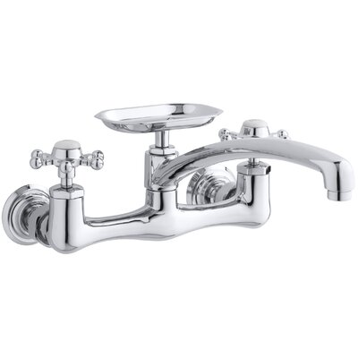 kitchen sink faucet spray kwc parts peerless antique two hole wall mount spout soap dish prong handles