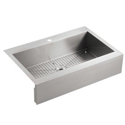 Top Mount Stainless Steel Kitchen Sinks kohler vault top-mount single-bowl stainless steel kitchen sink