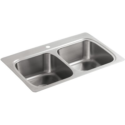 kohler verse topmount doubleequal bowl kitchen sink with single faucet hole u0026 reviews wayfair