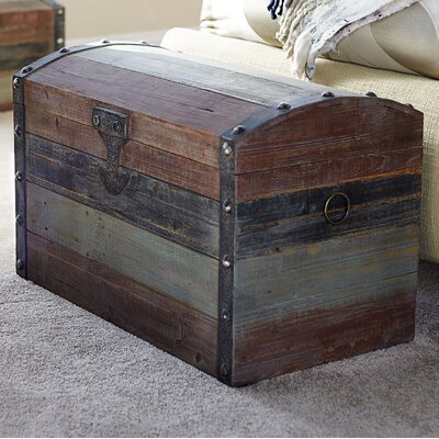 Household Essentials Large Weathered Wooden Storage Trunk U0026 Reviews |  Wayfair
