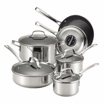 circulon genesis 10 piece stainless steel cookware set u0026 reviews wayfair