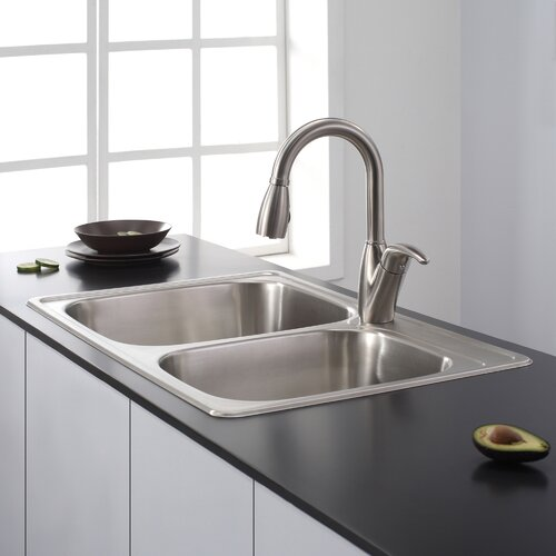 Kraus Stainless Steel 33 quot  x 22 quot  Double Basin Drop In Kitchen Sink. Kraus Stainless Steel 33  x 22  Double Basin Drop In Kitchen Sink