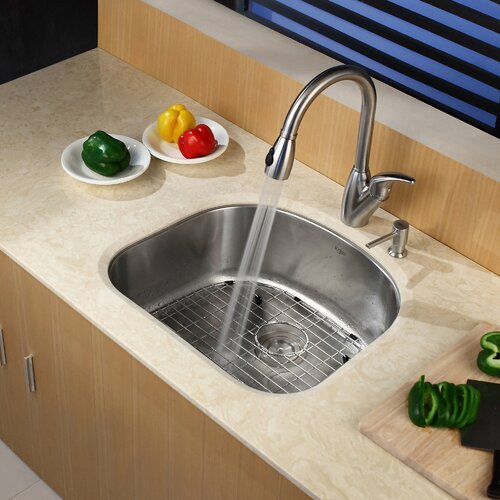 "Kraus Stainless Steel 23.25"" X 20.88"" Undermount Kitchen Sink With"