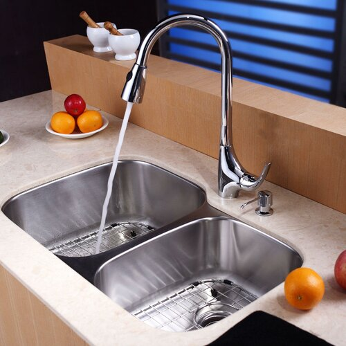 "Kraus Stainless Steel 32"" X 20.75"" 8 Piece Double Basin Undermount"