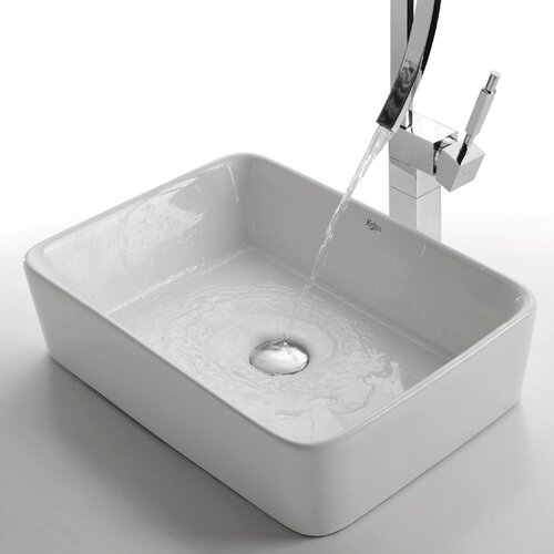 Kraus Ceramic Rectangular Vessel Bathroom Sink