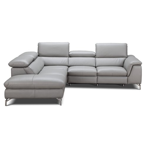 Genuine Leather Sectional Sofa Canada: Orren Ellis Allie Leather Sectional & Reviews