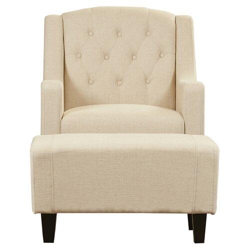 Alcott Hill Bloomington Upholstered Arm Chair and Ottoman – Upholstered Chair with Ottoman