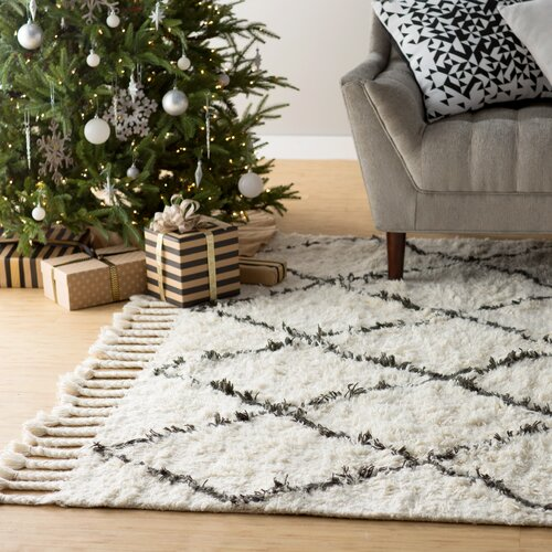 Langley Street Twinar Hand Knotted Black Area Rug