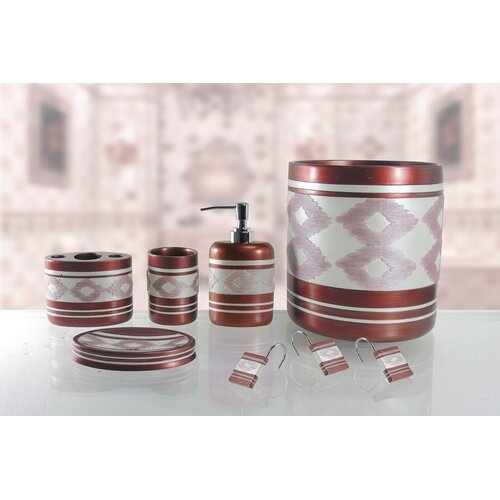 Red barrel studio restrepo 5 piece bathroom accessory set for Red glass bathroom accessories
