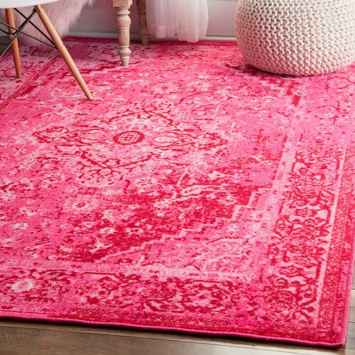 Bright pink area rug