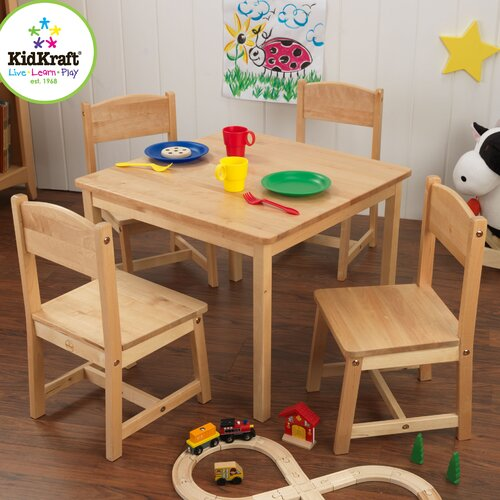 KidKraft Farmhouse Kids 5 Piece Square Table and Chair Set – Chair and Table for Kids
