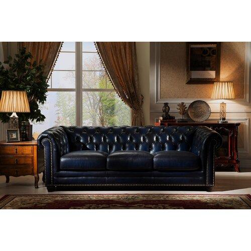 Amax Nebraska Chesterfield Genuine Leather Sofa And Chair Set