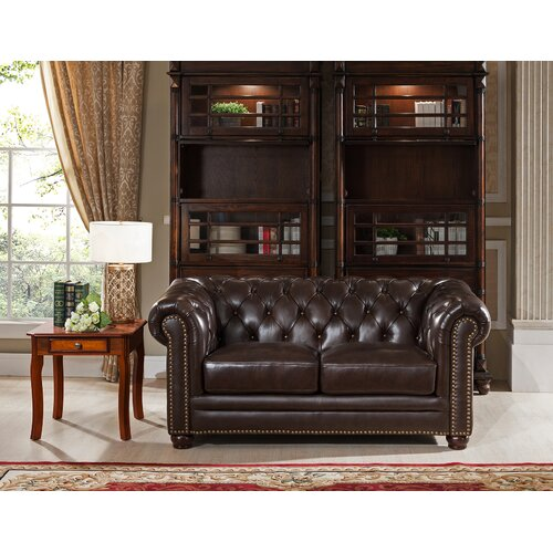 Amax Kensington Top Grain Leather Chesterfield Sofa And Loveseat