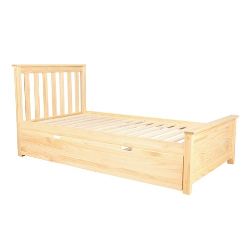 Max lily solid wood twin platform bed with trundle frame for Cheap double bed frames under 50