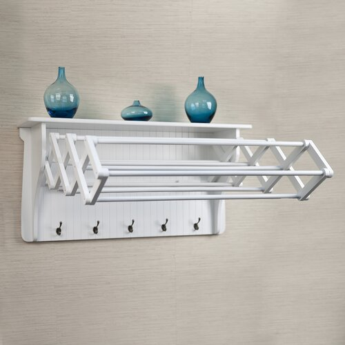 Fold Down Laundry Drying Rack With Hooks