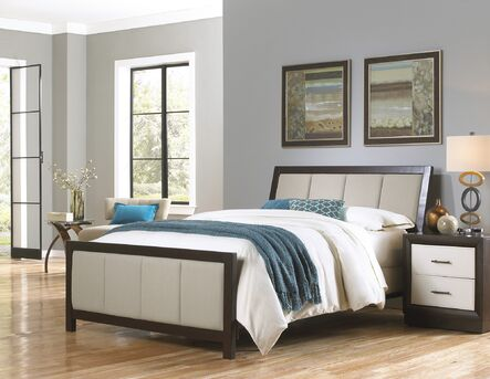 monterey complete wood upholstered bed