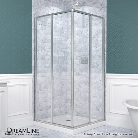 "Framed Sliding Shower Doors dreamline cornerview 34.5"" x 34.5"" x 72"" square sliding shower"
