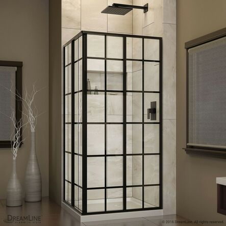 "Framed Sliding Shower Doors dreamline french corner 34.5 x 34.5"" d sliding shower enclosure"