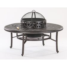 Basket Weave Round Cast Aluminum Chat Table
