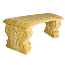 Furniture Short Curved Stone Garden Bench
