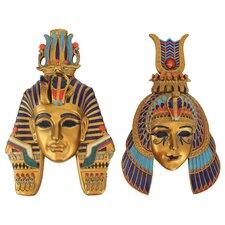 2 Piece Masks of Egyptian Royalty Sculptures Wall Décor Set