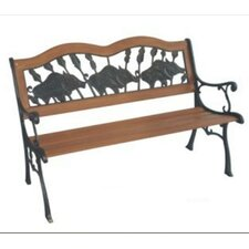 If Pigs Could Fly Wood and Cast Iron Park Bench