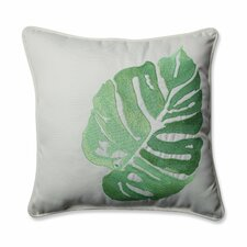 Outdoor/Indoor Leaf Embroidery Throw Pillow