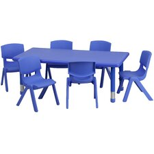 "7 Piece Rectangular Activity Table & 10.5"" Chair Set"