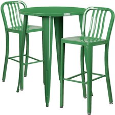 Metal Indoor/Outdoor 3 Piece Bar Set