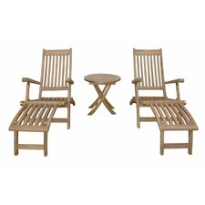 Modern Tropicana Montage 3 Piece Steamer Lounge Chair Set