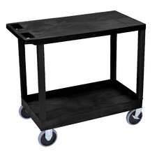E Series Heavy Duty Utility Cart with 1 Tub and 1 Flat Shelves