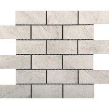 "Eurasia 2"" x 4/13"" x 13"" Porcelain Mosaic Tile in Bianco"