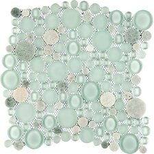 """Lucente 12"""" x 12"""" Glass Stone Blend Circle Mosaic Tile in Lazzaro"""