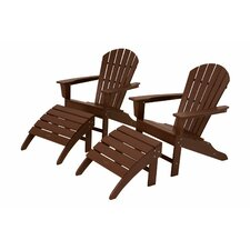 South Beach Adirondack Chair Set with Ottomans