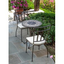 Today Only Sale Vulcano Mosaic 3 Piece Bistro Set with Cushions