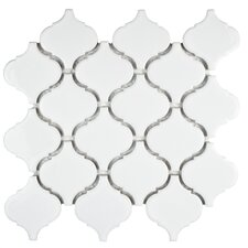 "Retro 2.87"" x 3.06"" Porcelain Lantern Mosaic Tile in Glossy White"