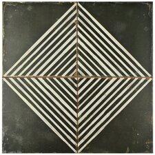 """Royalty 17.75"""" x 17.75"""" Ceramic Field Tile in Matte Black/White"""