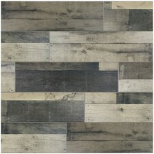 "Lena 7.88"" x 23.63"" Ceramic Wood Tile in Gris"