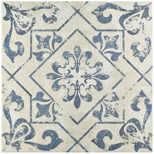 "Lotus 17.75"" x 17.75"" Ceramic Field Tile in Blue"