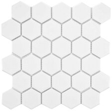 "Retro Hexagon 2"" x 2"" HePorcelain Mosaic Tile in White"